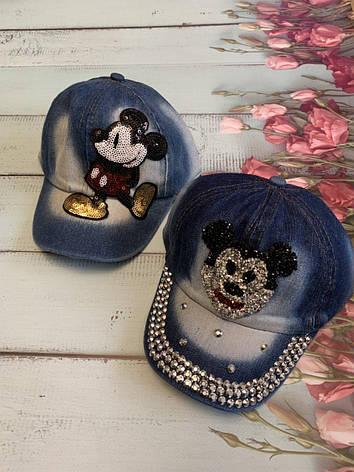 Детская джинсовая кепка для девочки Микки Маус р.50-52, фото 2