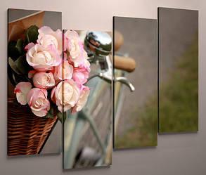 Модульная картина цветы велосипед 100х60