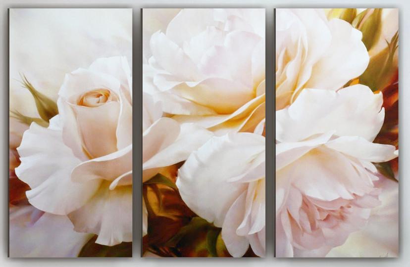 Фотокартина модульная белые розы 90х60