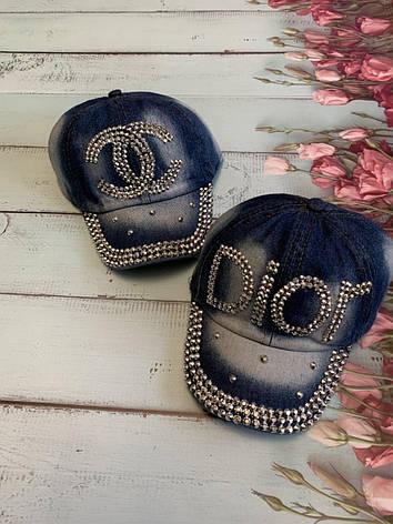 Летняя джинсовая стильная детская кепка для девочки Dior р.50-52, фото 2