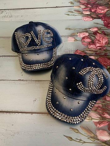 Летняя джинсовая стильная детская кепка для девочки Love р.50-52, фото 2