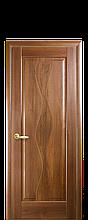 Дверное полотно Волна Золотая ольха глухое с гравировкой
