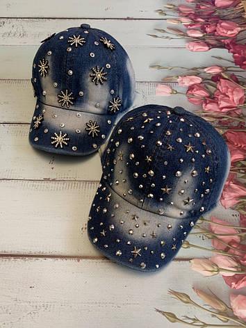 Джинсовая летняя детская кепка для девочки р.50-52, фото 2