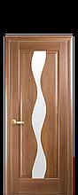 Дверное полотно Волна Золотая ольха со стеклом сатин