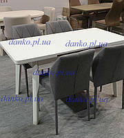 Раздвижной стол TM-73 Vetro Mebel 110/140, матовый снежно-белый
