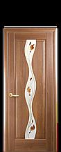 Дверное полотно Волна Золотая Ольха со стеклом сатин и рисунком Р1