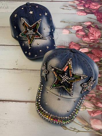 Детская джинсовая летняя кепка для девочки Звезда р.50-52, фото 2