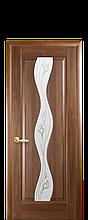 Дверное полотно Волна Золотая ольха со стеклом сатин и рисунком Р2