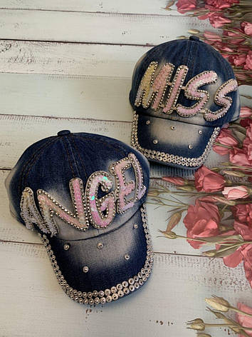 Джинсовая детская летняя кепка для девочки MISS р.50-52, фото 2