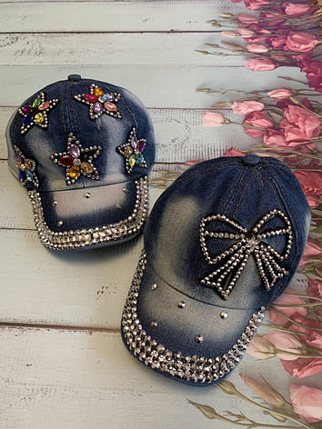 Джинсова дитяча літня кепка для дівчинки Бант р. 50-52, фото 2
