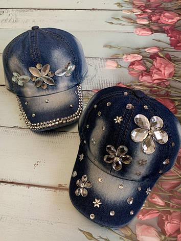 Джинсовая детская летняя кепка для девочки Ромашка р.50-52, фото 2