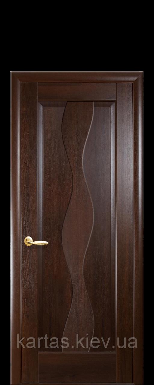 Дверное полотно Волна Каштан глухое