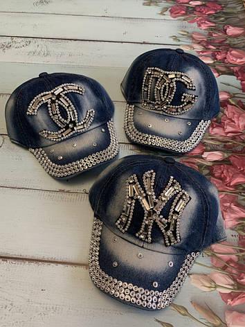 Дитяча літня джинсова кепка для дівчинки DG р. 50-52, фото 2