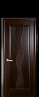 Дверное полотно Волна Каштан глухое с гравировкой