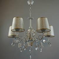 Классическая люстра на 5 лампочек СветМира белая с золотой патиной IS-3873/5
