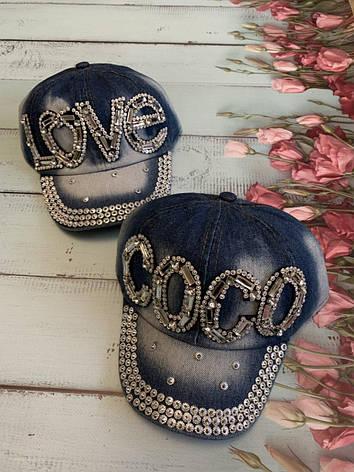 Детская летняя джинсовая кепка для девочки LOVE р.50-52, фото 2