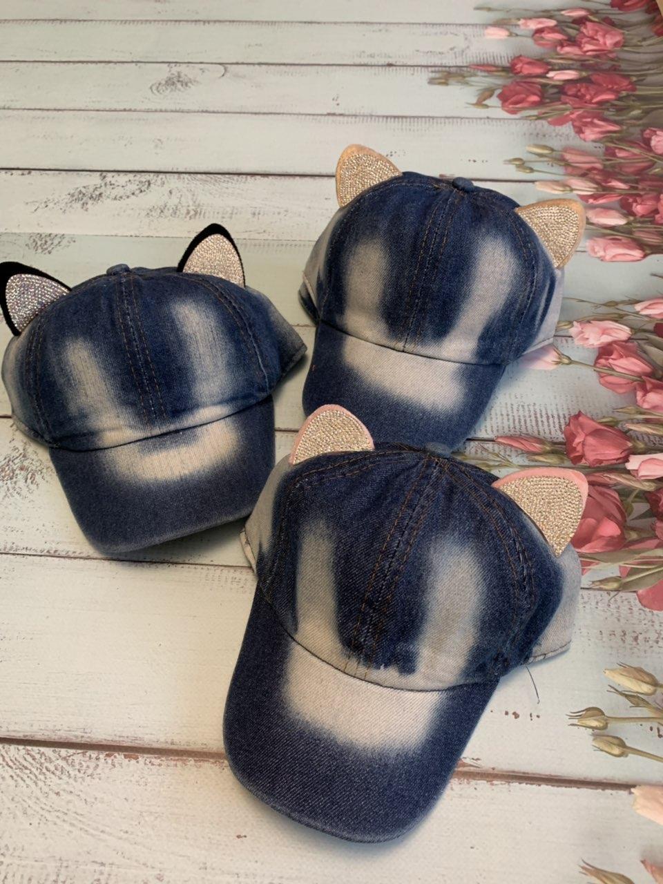 Детская летняя джинсовая кепка с ушками для девочки р.50-52