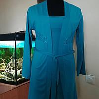 Пеньюар и ночная сорочка из вискозы, цвета морской волны ТМ Ahu Lingerie