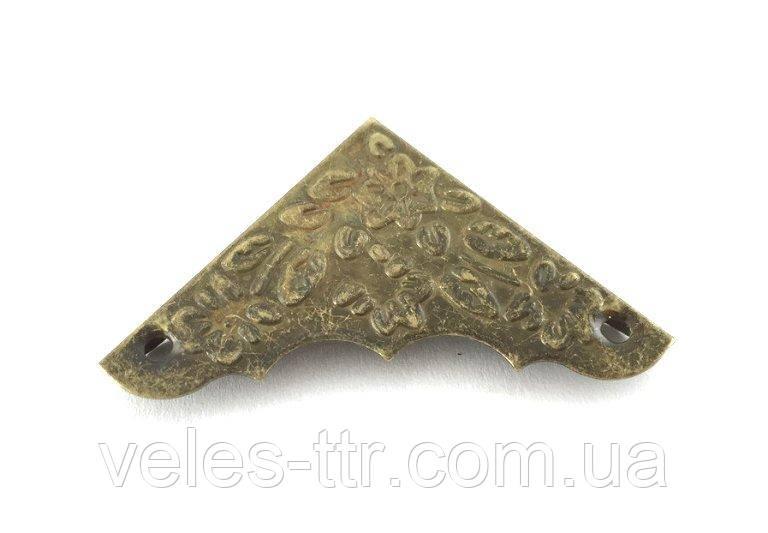 Куточок для шкатулок кутовий бронза 36х36х10 мм