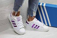 Кроссовки женские белые с темно фиолетовыми полосками Adidas Superstar 6361