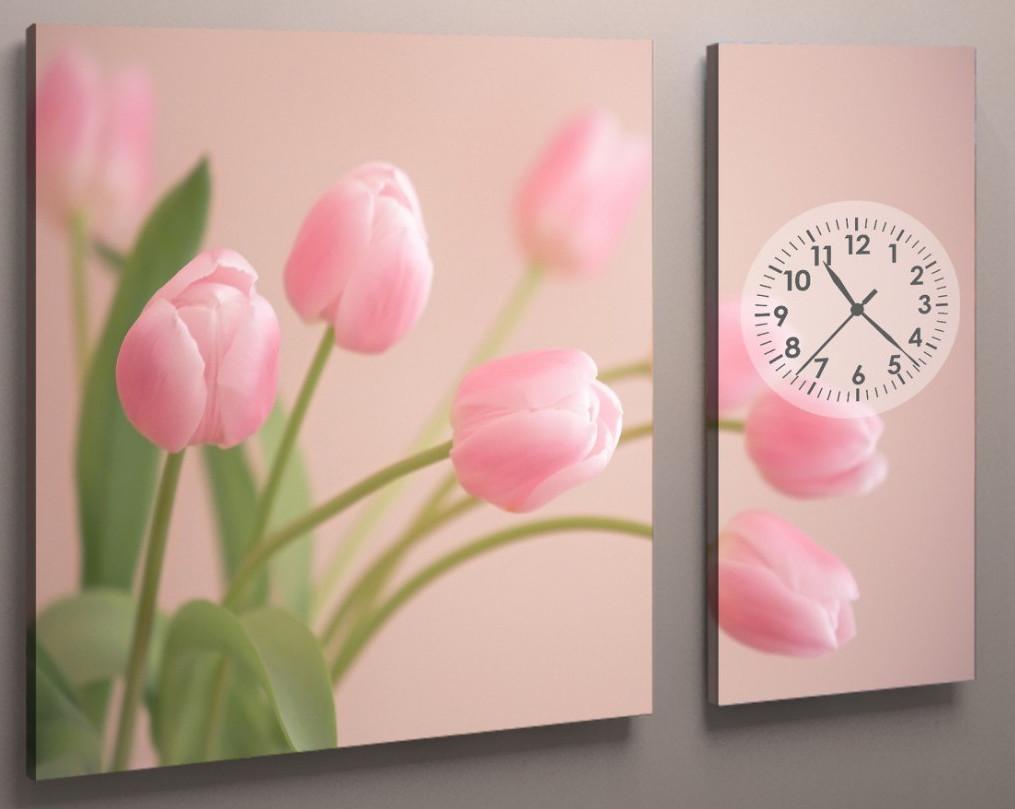 Часы настенные розовые тюльпаны 100х60