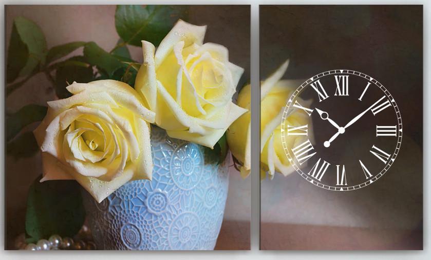 Модульная картина с часовым механизмом Цветы 100х60