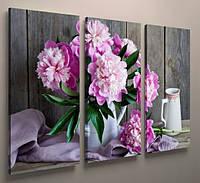 Картина модульная цветы пионы 90х60