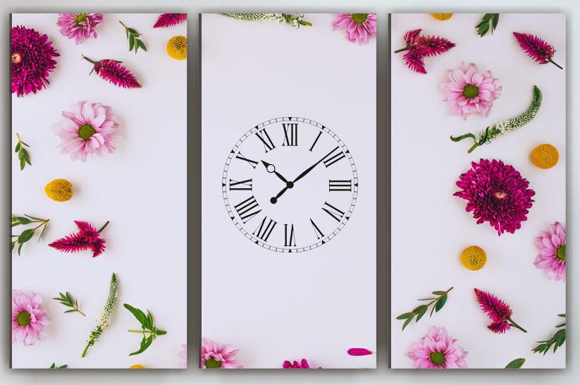 Фото картина модульна з годинником Квіти 90х60