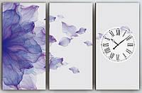 Фотокартина модульная с часами три модуля Цветок 90х60