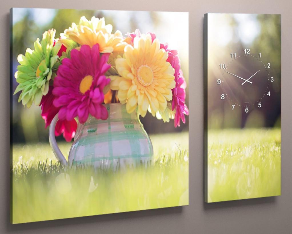 Модульна картина з годинниковим механізмом Квіти 100х60