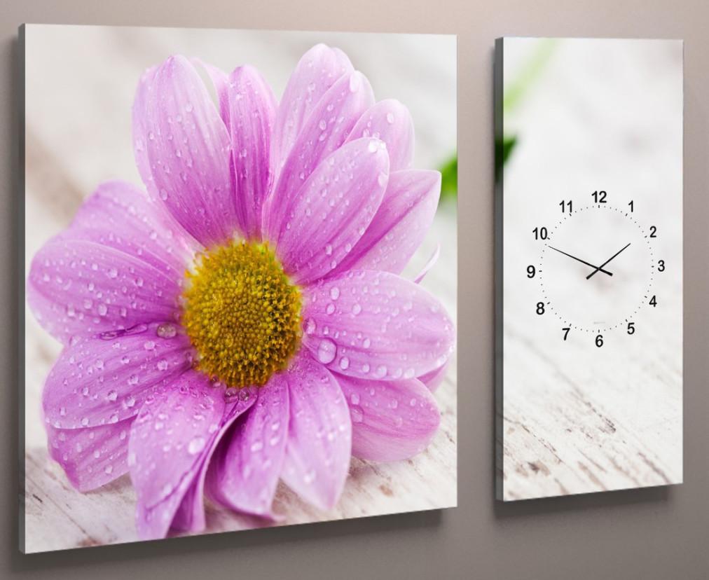Модульная картина с часовым механизмом Розовый цветок 100х60