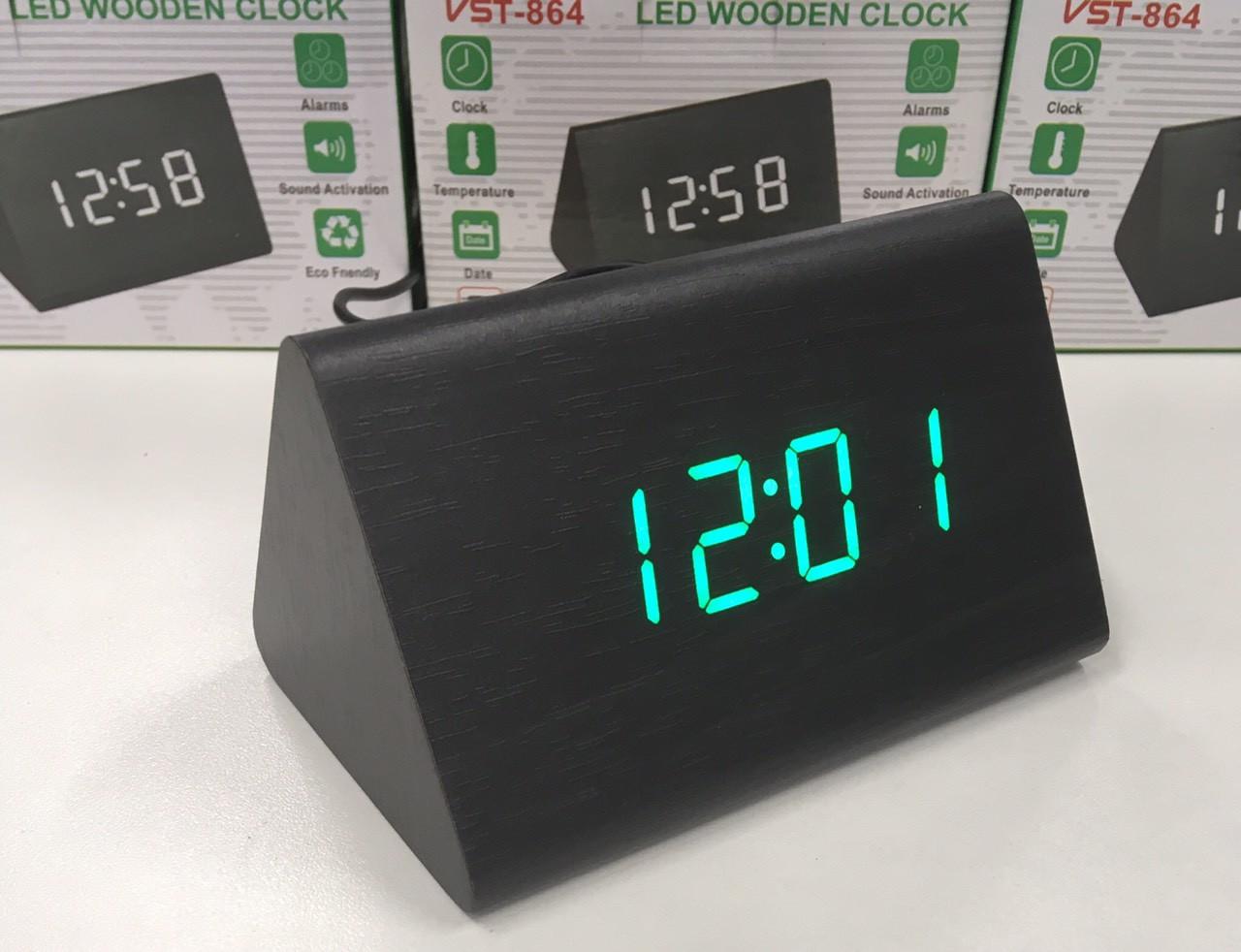 Настольные электронные часы VST-864  с будильником, датой и термометром, в форме деревянного бруска