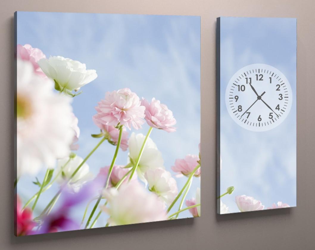 Фотокартина модульная с часами цветы белые 100х60