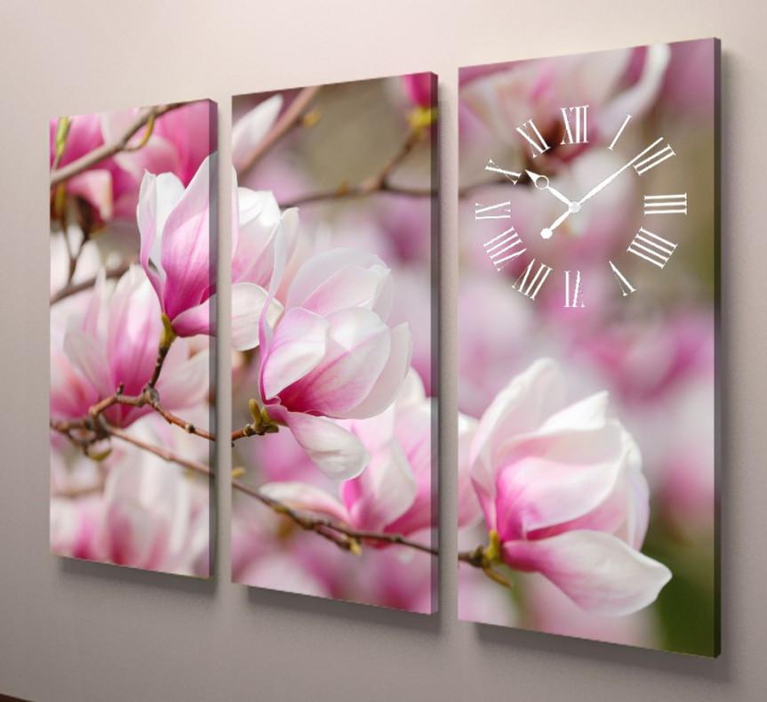 Фотокартина модульная с часами розовые цветы 90х60