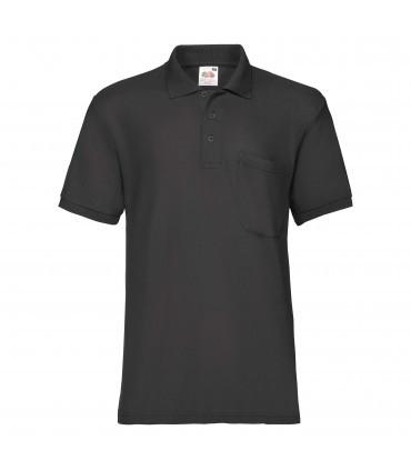 Мужская тенниска поло с карманом черная 308-36
