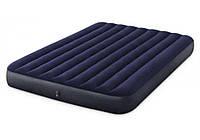 Матрас надувной Intex Classic Downy Bed 64765 с подушками и насосом 152х203х25 см Синий