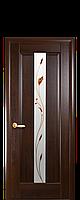 Дверное полотно Премьера каштан со стеклом сатин с рисунком  Р1