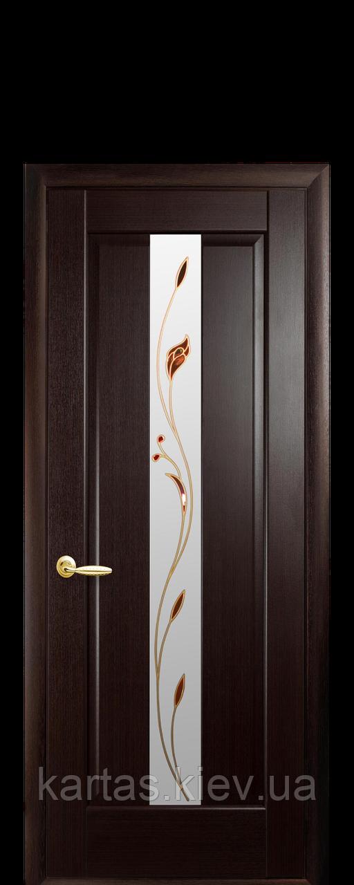 Дверное полотно Премьера Венге New со стеклом сатин с рисунком Р1