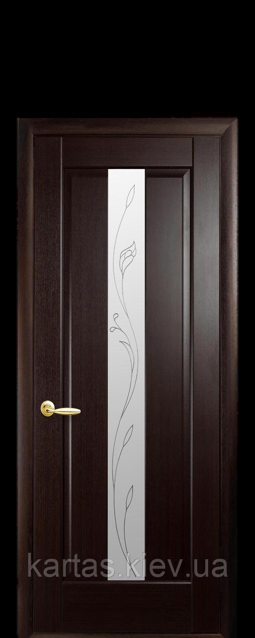Дверное полотно Премьера Венге New со стеклом сатин с рисунком Р2