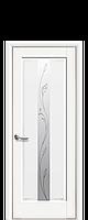 Дверное полотно Премьера Белый Матовый со стеклом сатин с рисунком Р2