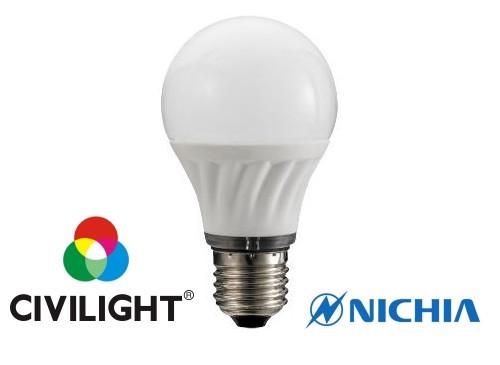 Лампа світлодіодна CIVILIGHT 6Вт 3000K з індексом кольоропередачі CRI90 A60 K2F40T6-16005  5187