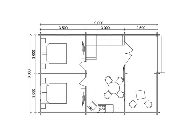 Дачный дом 9х6 м из профилированного бруса в Украине план