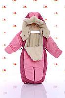 Зимний комбинезон трансформер розовый с темно розовым, фото 1