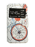 Чехол-книжка Slide PRINT Style 1 окно Велосипед / Кристал