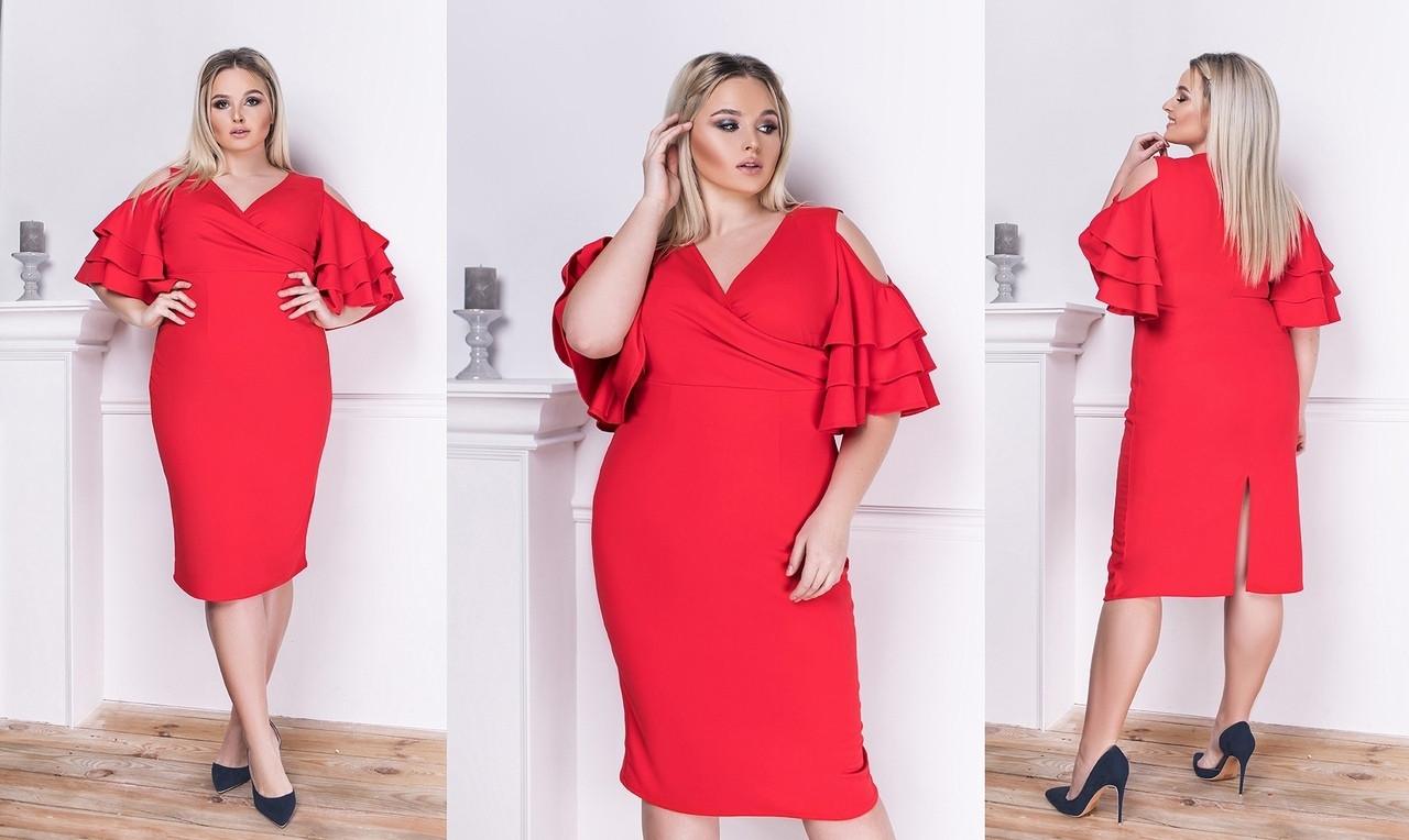 Красивое силуэтное платье ниже колен с оригинальным рукавом воланами 48-50, 52-54, 56-58