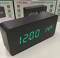 Настольные электронные часы VST-862 с будильником, датой и термометром, в форме деревянного бруска