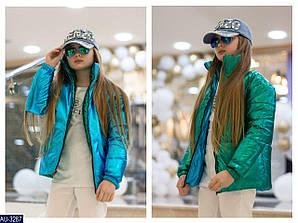 Дитяча стильна курточка на дівчинку на ріст від 128 до 170 см двостороння