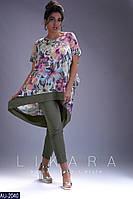 Женский летний прогулочный костюм,кофта с коротким рукавом (супер софт стрейч) цвет-хаки принт (батал)