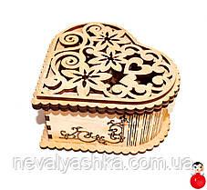 Шкатулка Деревянная Сердце Резная Шкатулка ПОД РОСПИСЬ Ажурное Резное Сердечко дерев'яна шкатулка серце