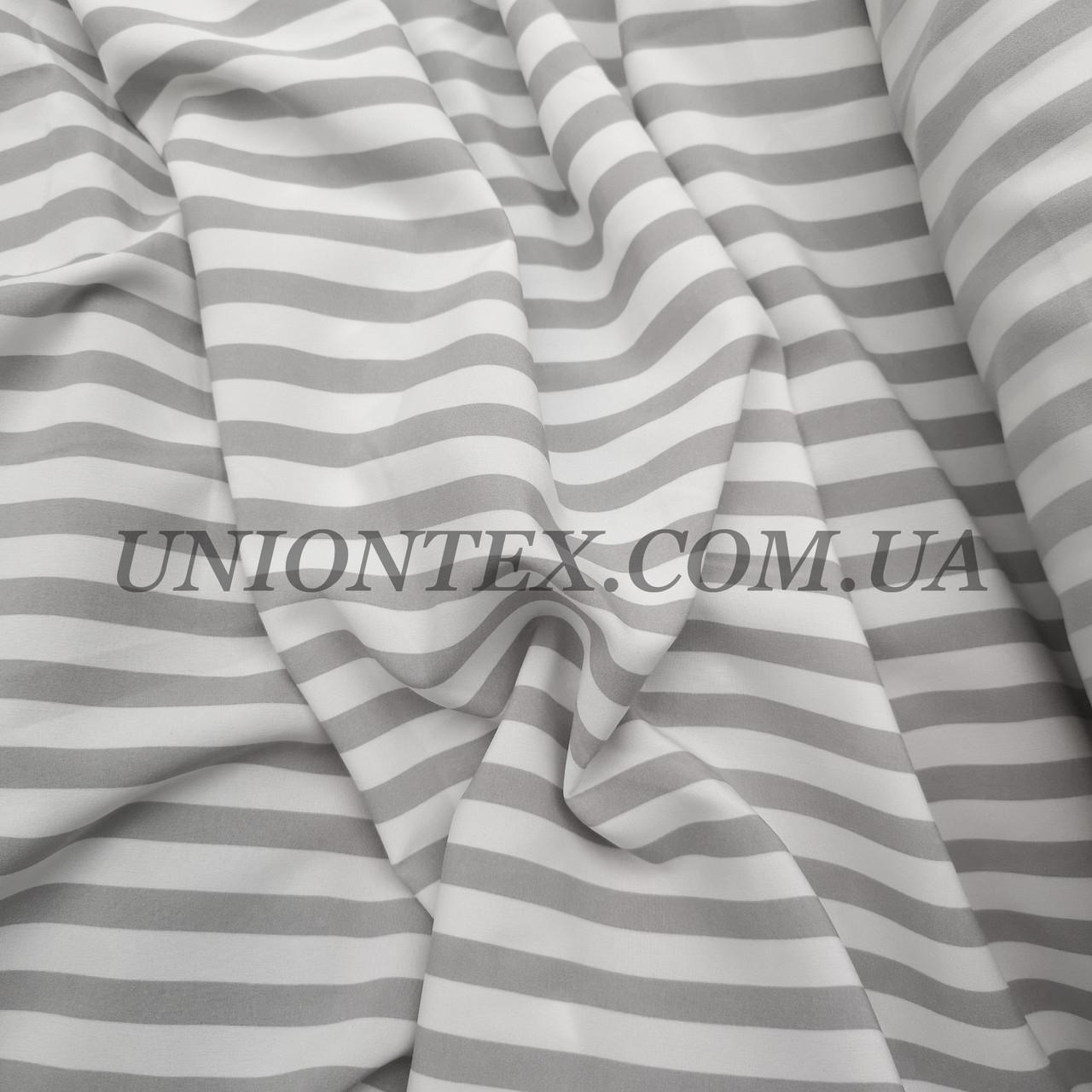 Ткань супер софт принт полоска 1см белая с серой ART-11-5